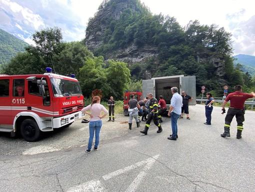 Vigili del fuoco recuperano la carcassa di un vitello nel Po, tra Paesana e Oncino (FOTO)