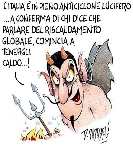 L'Italia nella morsa dell'anticiclone Lucifero: la vignetta di Paparelli