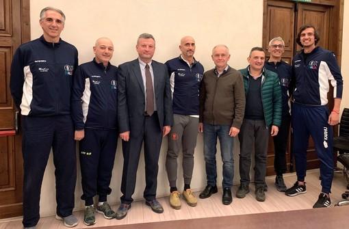 Lo staff del CTF 2.019 con il vicepresidente vicario della FIPAP Fabrizio Cocino, il vicepresidente della Fondazione CRC Ezio Raviola e Renato Sevega della SISCOM di Cervere