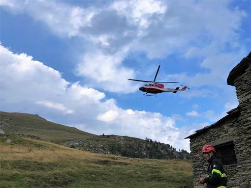 Le operazioni di ricerca e il sorvolo dell'elicottero dei Vigili del fuoco di ieri pomeriggio (giovedì)