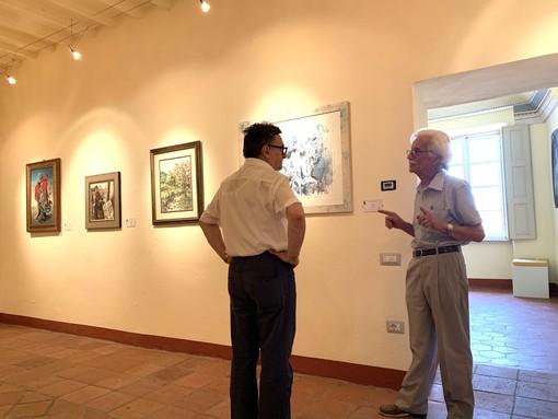Il pittore guarenese Dino Pasquero col presidente del Centro Culturale San Giuseppe Roberto Cerrato