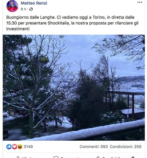"""Notte nelle Langhe per Matteo Renzi prima del debutto piemontese di """"Italia Viva"""""""