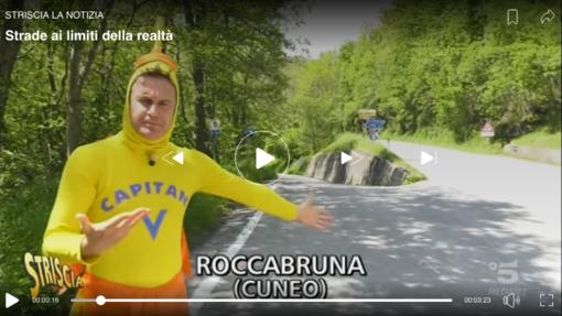 """Striscia la Notizia a Roccabruna per raccontare la """"salita in discesa"""" (VIDEO)"""