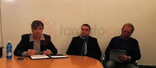 Da sinistra, Bachiorrini, Graglia e Miretti nella conferenza stampa del 7 novembre 2017