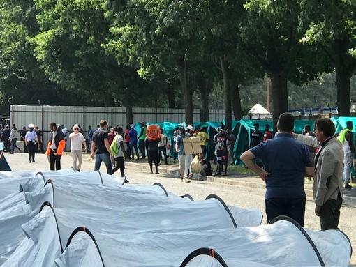 Il campo tende allestito al Foro Boario di Saluzzo