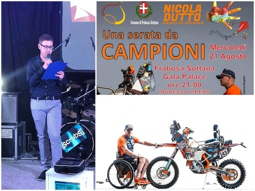 Da sinistra: il giornalista Alessandro Nidi, la locandina della serata, il pilota Nicola Dutto con la sua moto