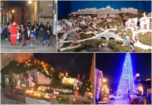 La festa per l'accensione dell'albero di Natale (Foto Battisti, Sanfront) e i due presepi allestiti in paese