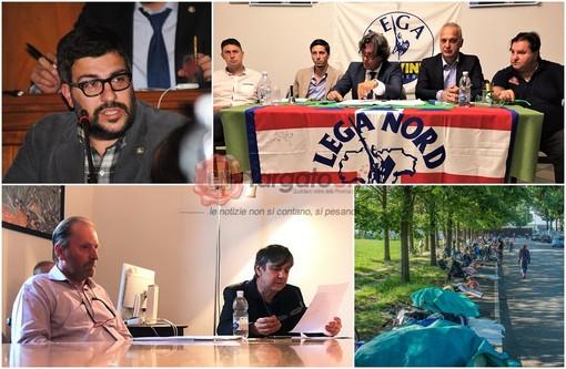Da in alto a sinistra (in senso orario): il sindaco Calderoni, la conferenza stampa della Lega Nord, i migranti accampati lungo il viale del Foro Boario, la conferenza stampa di Forza Italia