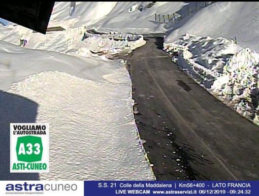 La SS 21 adesso, ripresa dalle webcam della Provincia