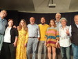 Saluzzo, il presidente Mauro Bocci a destra con i direttori di Comgagnia, docenti, registi del Teatro del Marchesato