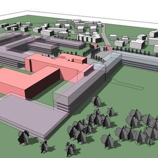 La possibile struttura del nuovo ospedale nella zona del Carle