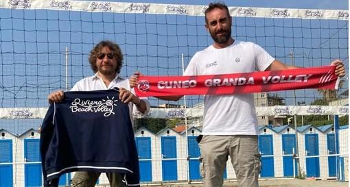 Dino Vercelli, vice presidente Cuneo Granda Volley, e Alessio Marri, presidente Riviera Beach Volley (credit ufficio stampa CGV)