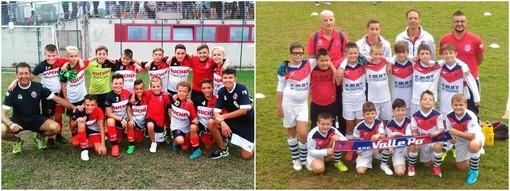 Da sinistra, i Pulcini 2009 e 2010 al torneo di Bagnolo Piemonte