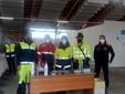 Saluzzo, nuovo centro vaccini al PalaCrS, gruppo di volontari impegnati nel servizio