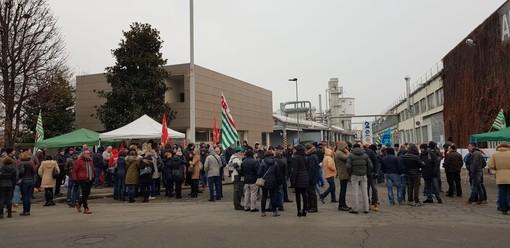 Uno degli scioperi all'Abet Bra