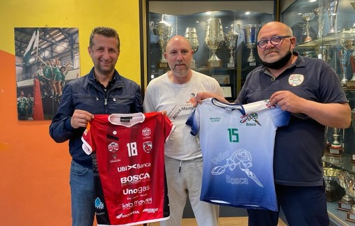 I protagonisti dell'accordo: Roberto Sordo, dirigente GVA, Fabrizio Solferino, direttore tecnico VB, e Valter Rosso, presidente VB (credit ufficio stampa GVA)