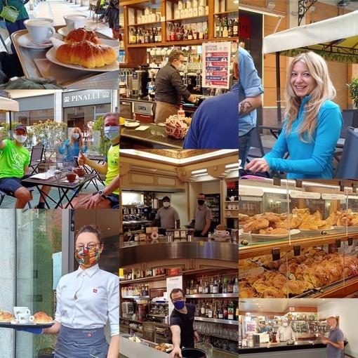 Finalmente riaprono i bar di Cuneo: tavolini all'aperto, caffè, brioches e sorrisi (FOTO)