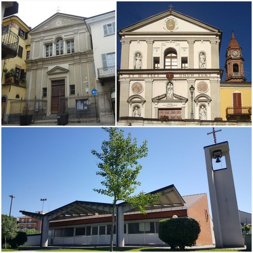 In foto la chiesa dei Battuti Neri, la chiesa dei Battuti Bianchi e la chiesa B.V. del Rosario a Bra