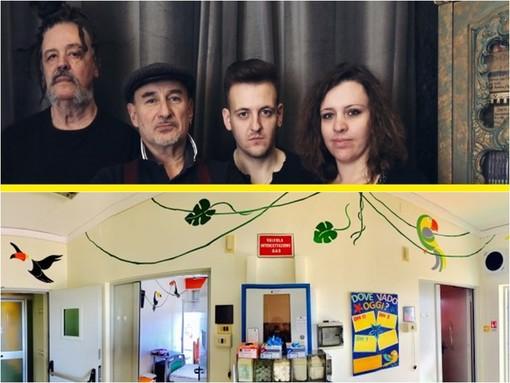 Madaski e Sergio Berardo con i loro musicisti, protagonisti del Gran Ba Dub. Sotto il reparto di Onco ematologia dell'Ospedale di Savigliano