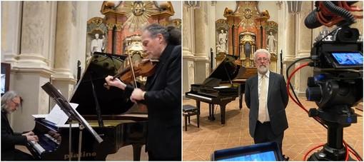 Un momento del concerto nel Monastero Santa Maria della Stella . Il presidente della Fondazione CrSaluzo Marco Piccat