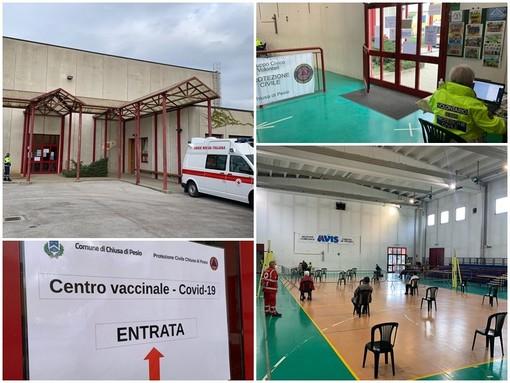 Il palazzetto dello sport a Chiusa di Pesio allestito a centro vaccinale