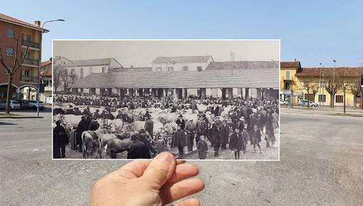 Piazza mercato nel 1934 nello scatto di Marco Aimo