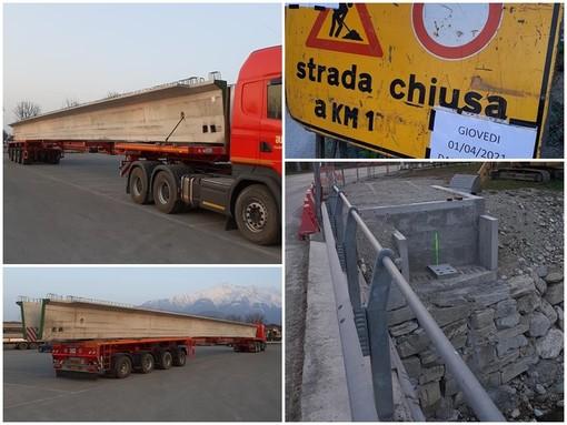 La trave di 30 metri in cemento armato che verrà posata sul torrente Colla a Boves