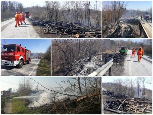 Incendi sterpaglie a Lesegno e Montezemolo: intervento di vigili del fuoco e Aib