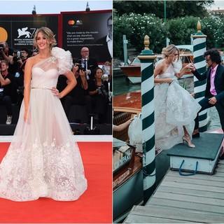 Nicole Cavallo sul red carpet del Cinema di Venezia e all'arrivo in motoscafo