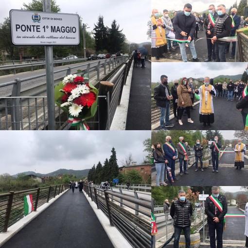 Inaugurato il ponte 1° Maggio a Rivoira di Boves: a tagliare il nastro Matteo, figlio di un operaio morto sul lavoro