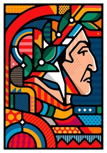 La rappresentazione del volto di Dante firmata Van Orton Design sarà esposta