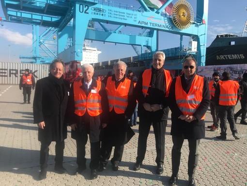 """Vado Ligure inaugura la piattaforma hi-tech Maersk, Dardanello: """"Oggi si apre una nuova pagina per il Nord-Ovest di cui la Granda sarà retroporto"""""""