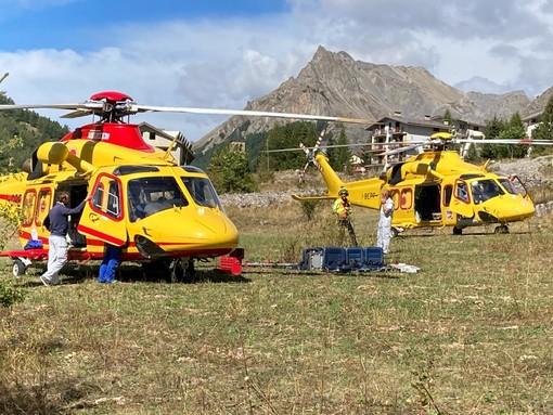 In volo fino a Bersezio per soccorrere una donna, elicottero del 118 resta fermo per un guasto