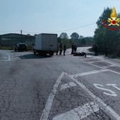 Moto contro furgone a Peveragno: sul posto vigili del fuoco ed elisoccorso
