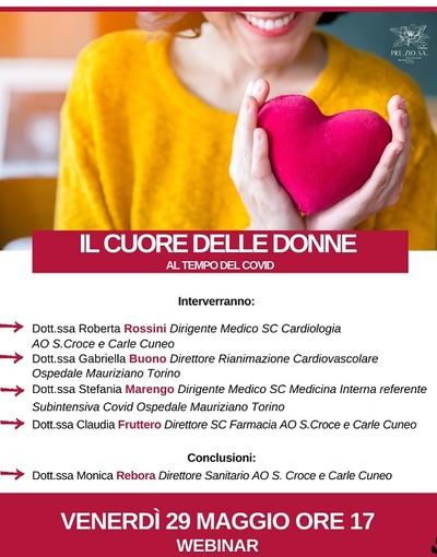 """Cuneo, l'associazione Preziosa Onlus organizza il webinar """"Il cuore delle donne al tempo del Covid"""""""