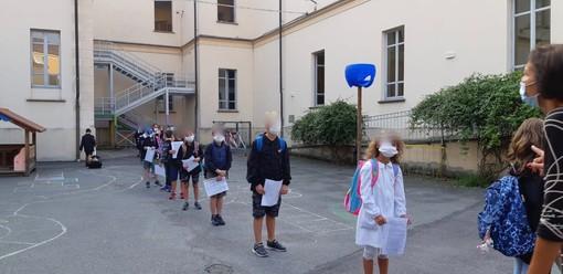 Saluzzo : ingresso in aula per il primo giorno di scuola dei bambini della primaria Costa