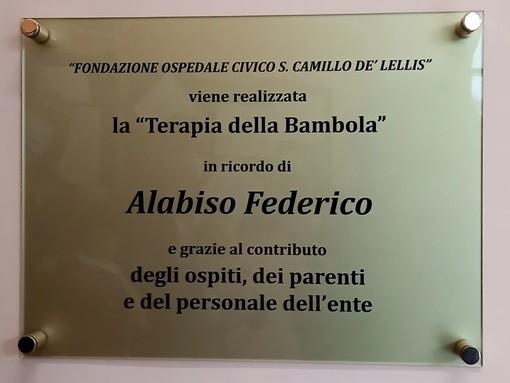 """Dronero: in ricordo di Federico Alabiso è stata inaugurata al San Camillo De' Lellis la """"Terapia della Bambola"""""""