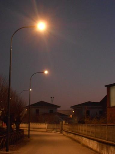 Il nuovo impianto di illuminazione in zona Rovarino