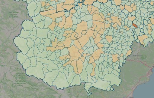 LA MAPPA DEL 20 GIUGNO - IN MARRONE SCURO I CENTRI CON INDICE SUPERIORE A 18 CONTAGI OGNI 1.000 ABITANTI
