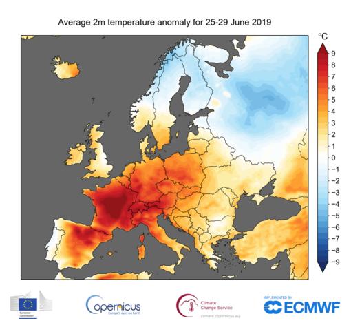 E' stato il mese di giugno più caldo mai registrato in Europa: temperature medie di più di 2° gradi sopra la norma