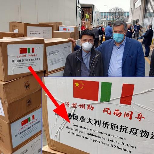 """""""Guardatevi e aiutatevi a vicenda"""": il messaggio sui pacchi di mascherine arrivati in Piemonte dalla Cina"""