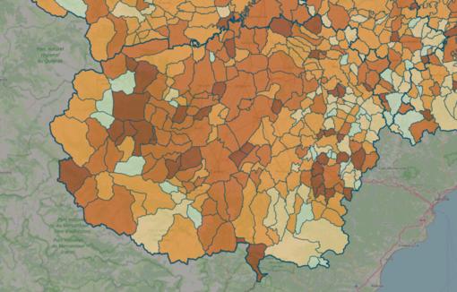 LA MAPPA DEL 29 NOVEMBRE - IN MARRONE SCURO I CENTRI CON INDICE SUPERIORE A 18 CONTAGI OGNI 1.000 ABITANTI