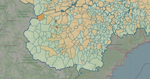 LA MAPPA DEL 13 GIUGNO - IN MARRONE SCURO I CENTRI CON INDICE SUPERIORE A 18 CONTAGI OGNI 1.000 ABITANTI