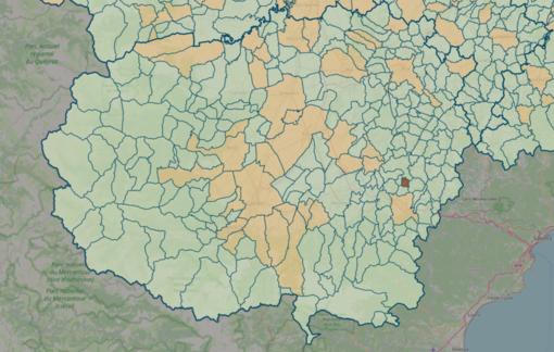 LA MAPPA DEL 18 LUGLIO - IN MARRONE SCURO I CENTRI CON INDICE SUPERIORE A 18 CONTAGI OGNI 1.000 ABITANTI
