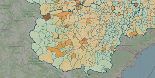 LA MAPPA DEL 16 MAGGIO - IN MARRONE SCURO I CENTRI CON INDICE SUPERIORE A 18 CONTAGI OGNI 1.000 ABITANTI