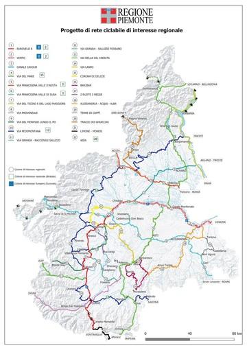 La mappa regionale delle ciclovie