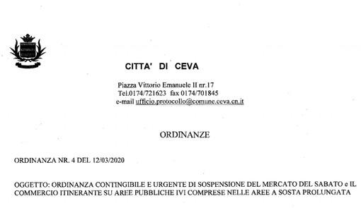 Emergenza Coronavirus: Ceva sospende i mercati settimanali del 14 e 21 marzo