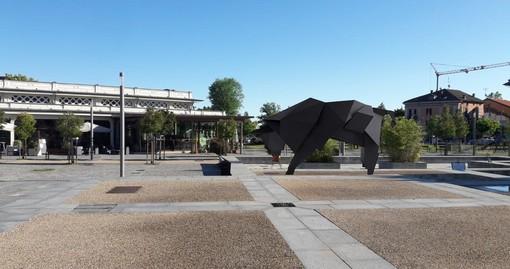 Render della statua del toro in piazza Foro Boario a Cuneo
