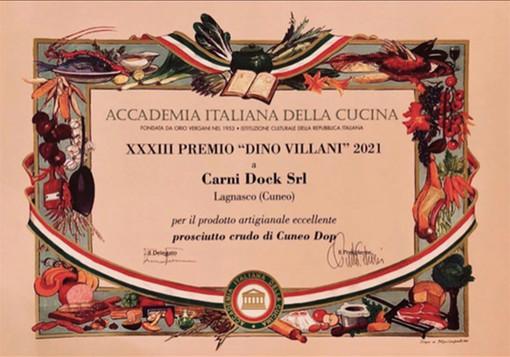 """Il prosciutto Crudo di Cuneo DOP, prodotto dalla Carni Dock di Lagnasco, vince il """"Premio Dino Villani"""" 2021"""