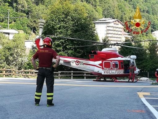 Mucca cade in un canalone sopra Crissolo: interviene l'elicottero dei vigili del fuoco
